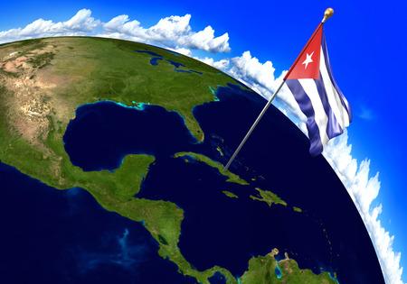 Cuba bandera nacional marcando la ubicación del país en el mapa del mundo. Representación 3D, partes de esta imagen proporcionada por la NASA