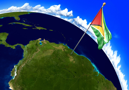 foreign national: Guyana national flag marking the country location on world map. 3D rendering, parts of this image furnished by NASA Stock Photo
