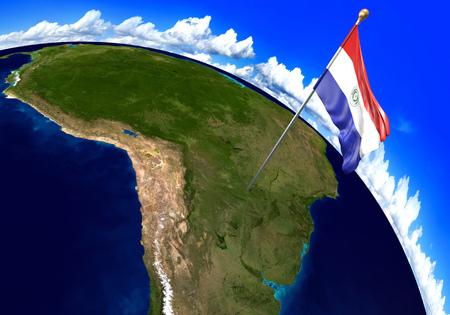 bandera de paraguay: que marca la ubicación del país en el mapa mundial de la bandera nacional de Paraguay. representación 3D, partes de esta imagen proporcionada por la NASA