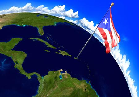bandera de puerto rico: Puerto Rico bandera nacional marcando la ubicación del país en el mapa del mundo. Representación 3D, partes de esta imagen proporcionada por la NASA