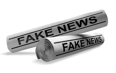disinformation: Newspapers with fake news headlines, representing outlets that publish hoaxes and disinformation, 3D rendering