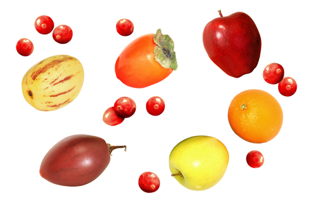 pepino: Healthy apple, orange, persimmon, cranberry, pepino, and tamarillo fruits collection isolated