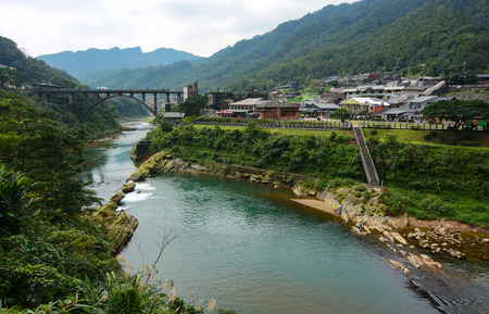 formosa: Houtong Cat Village and the old coal bridge over the Keelung River in Ruifang District, Taiwan