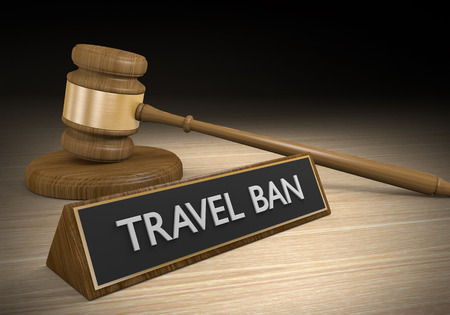 Court law concept of a legal ruling to block travel ban restrictions, 3D rendering