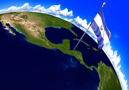 mapa de el salvador: El Salvador national flag marking the country location on world map. 3D rendering, parts of this image furnished by NASA Foto de archivo