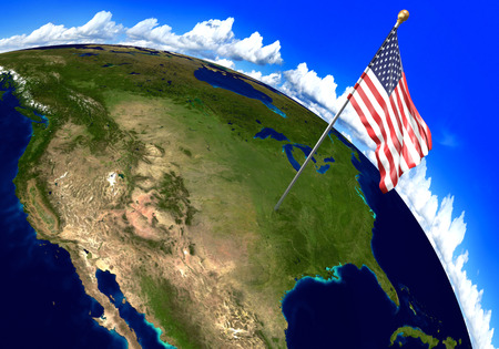 world flag: United States national flag marking the country location on world map. 3D rendering, parts of this image furnished by NASA