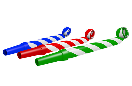 blue party: Striped blue, red, and green party blower whistles for making loud noise, 3D rendering
