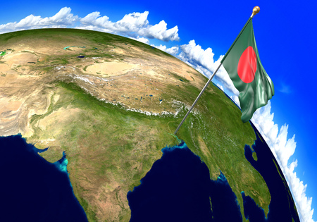 foreign land: Bangladesh national flag marking the country location on world map. 3D rendering, parts of this image furnished by NASA