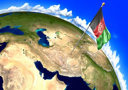 Afghanistan national flag marking the country location on world map. 3D rendering, parts of this image furnished by NASA Stock Photo