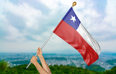 bandera chilena: Young mans hands proudly waving the Chile national flag in the sky, part 3D rendering