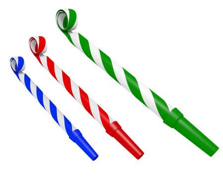 party horn blower: Colorful striped party blower whistles for making annoying noises, 3D rendering