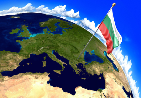 Bulgaria national flag marking the country location on world map. 3D rendering, parts of this image furnished by NASA 版權商用圖片