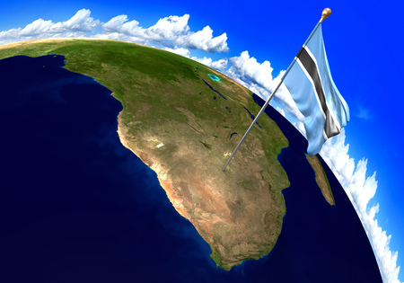 botswanan: Botswana national flag marking the country location on world map. 3D rendering, parts of this image furnished by NASA