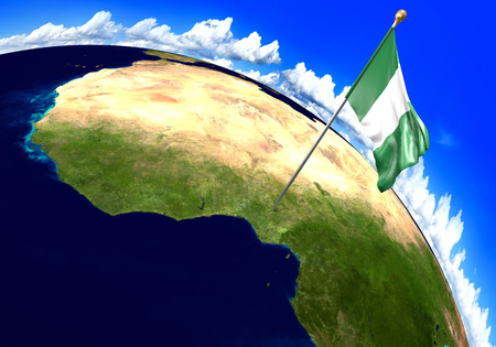 Nigeria national flag marking the country location on world map. 3D rendering, parts of this image furnished by NASA