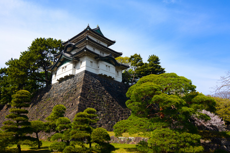 imperialism: Ancient castle style Fujimi-yagura guard tower building at Tokyo Imperial Palace in Japan