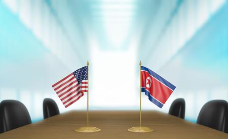 Relaciones entre Estados Unidos y Corea del Norte y conversaciones diplomáticas, representación 3D Foto de archivo - 76938721