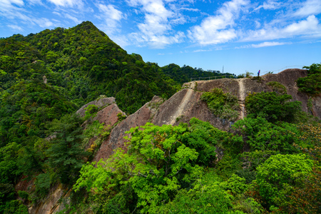 Wild mountainous landscape and tropical jungle along the Wu Liao Jian hiking trail in Taiwan