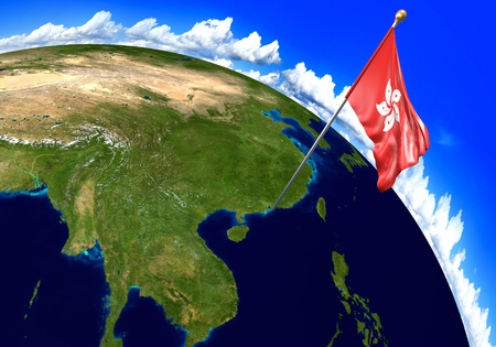 national geographic: Hong Kong national flag marking the country location on world map. 3D rendering,