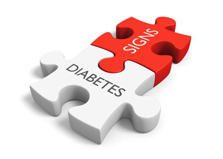 Diabetes mellitus metabole ziekte tekenen en symptomen concept, 3D-rendering Stockfoto