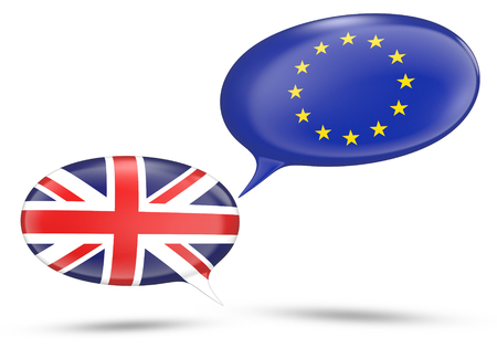 United Kingdom and European Union relations concept with speech bubbles, 3D rendering