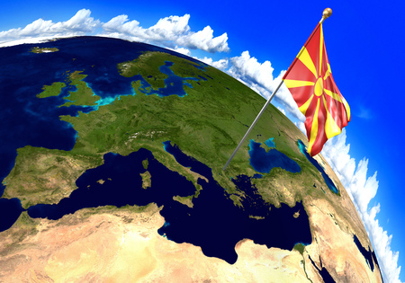 territory: Macedonia national flag marking the country location on world map. 3D rendering, parts of this image furnished by NASA Stock Photo