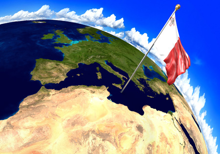 Malta national flag marking the country location on world map. 3D rendering, parts of this image furnished by NASA