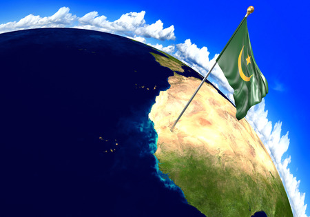 Mauritania national flag marking the country location on world map. 3D rendering, parts of this image furnished by NASA Stock Photo
