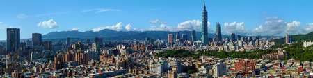 Wide panorama of the center of Taipei City, capital of the country of Taiwan