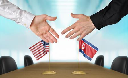 Diplomaten uit de Verenigde Staten en Noord-Korea schudden elkaar de hand om overeenstemming te bereiken, deels 3D-weergave