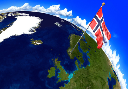 foreign land: Norway national flag marking the country location on world map. 3D rendering, parts of this image furnished by NASA Stock Photo