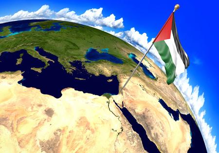 세계지도에서 지역 위치를 표시하는 팔레스타인 국기. 3D 렌더링, NASA에서 제공하는이 이미지의 일부 스톡 콘텐츠