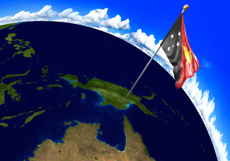 Papua New Guinea national flag marking the country location on world map. 3D rendering, parts of this image furnished by NASA Stock Photo - 82164625