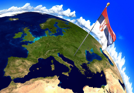 foreign land: Serbia national flag marking the country location on world map. 3D rendering, parts of this image furnished by NASA