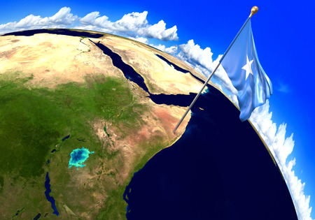 Somalia national flag marking the country location on world map Stock Photo