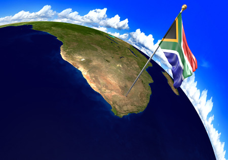 South Africa national flag marking the country location on world map. 3D rendering, parts of this image furnished by NASA