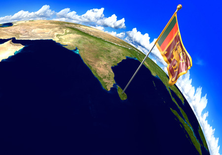 sri lankan flag: Sri Lanka national flag marking the country location on world map. 3D rendering, parts of this image furnished by NASA
