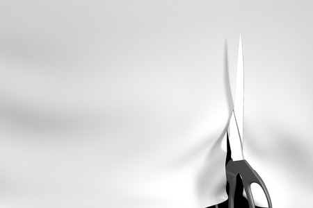 Tailoring concept of scissors cutting a white cloth background, 3D rendering