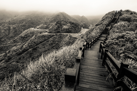 Boardwalk on the rugged mountainous northeast coast of Taiwan near Jiufen