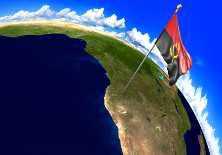 Angola national flag marking the country location on world map. 3D rendering Stock Photo