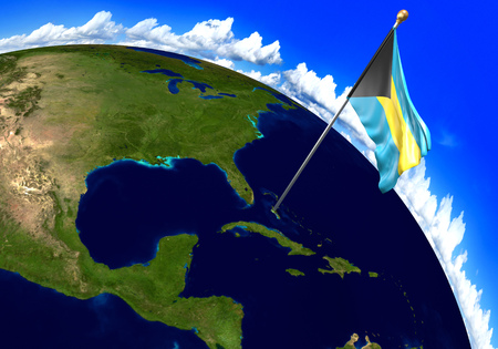 Bahamas national flag marking the country location on world map. 3D rendering, parts of this image furnished by NASA Stock Photo