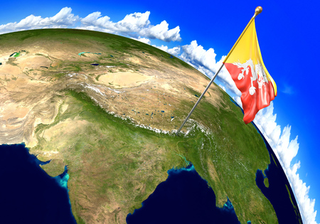 national geographic: Bhutan national flag marking the country location on world map. 3D rendering, parts of this image furnished by NASA
