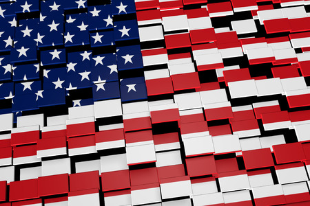 United States country flag background formed from digital mosaic tiles, 3D rendering