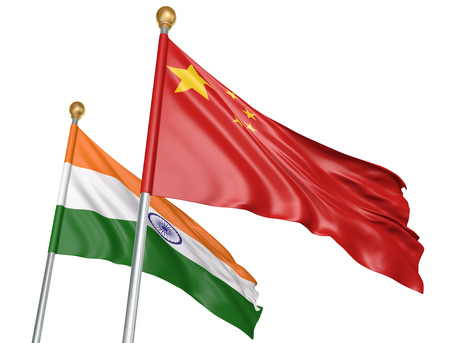China and India flags flying together for important diplomatic talks, 3D rendering Stock Photo