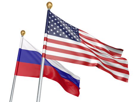 treaty: United States and Russia flags flying together for important diplomatic talks, 3D rendering