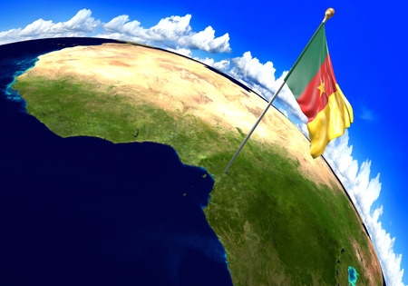 national geographic: Cameroon national flag marking the country location on world map. 3D rendering, Stock Photo
