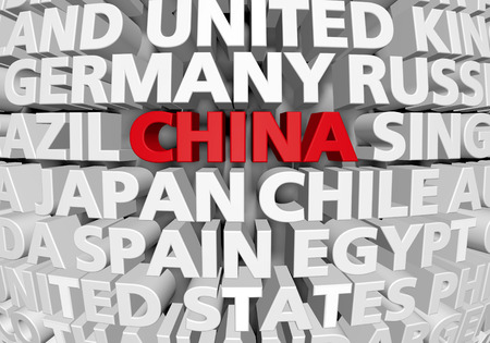 Raised 3D text of world countries with China highlighted as a rising superpower, 3D rendering Фото со стока