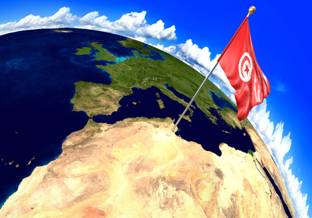 national geographic: Tunisia national flag marking the country location on world map. 3D rendering