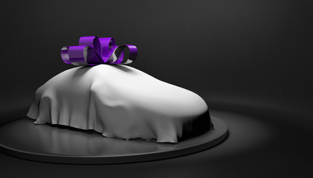 unveil: Car show concept of a new car wrapped with a cover and bow about to be revealed, 3D rendering