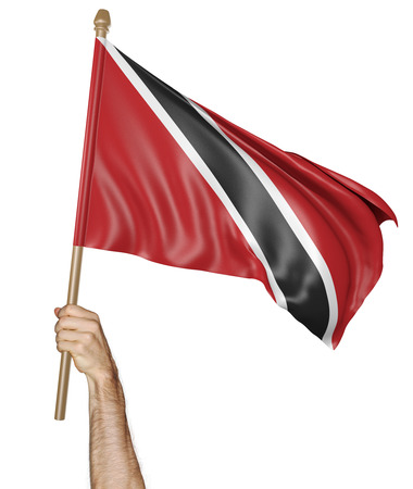 Hand proudly waving the national flag of Trinidad and Tobago isolated on a white background, 3D rendering