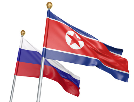Isolated North Korea and Russia flags flying together for diplomatic talks and trade relations, 3D rendering